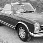 SChwarzweiß Foto Oldtimer Mercedes